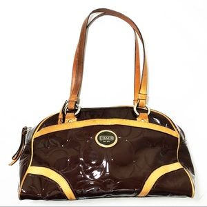Coach Patent Brown Leather Medium Satchel Purse